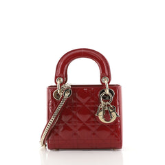 Christian Dior Lady Dior Chain Bag Cannage Quilt Patent Mini Red 440595
