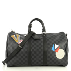 Louis Vuitton Keepall Bandouliere Bag Limited Edition Damier Graphite LV League 45 Black 4405963