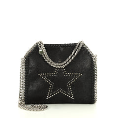 Stella McCartney Falabella Fold Over Crossbody Bag Embellished Shaggy Deer Mini Black 4405975