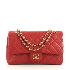 Chanel Vintage Classic Double Flap Bag Quilted Lambskin Medium Red 440624