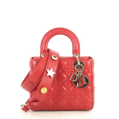 Christian Dior My Lady Dior Bag Cannage Quilt Lambskin Red 440627