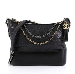 Chanel Gabrielle Hobo Quilted Aged Calfskin Medium Black 440781