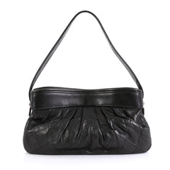 Chanel Vintage Pleated Shoulder Bag Quilted Lambskin Medium Black 4408...