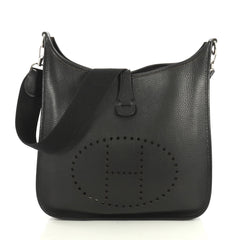 Hermes Evelyne Crossbody Gen I Clemence GM Black 440889