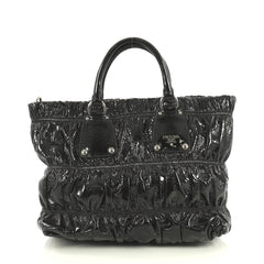 Prada Gaufre Convertible Tote Patent Medium Black 440947