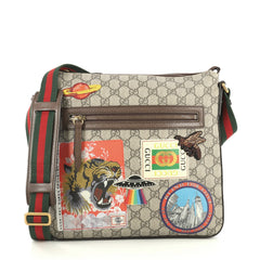 Gucci Courrier Zip Messenger GG Coated Canvas with Applique Medium Brown 440961