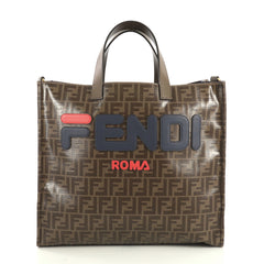 Fendi Mania Logo Shopper Tote Zucca Coated Canvas Large Brown 440991