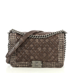 Chanel Paris-Dallas Boy Flap Bag Quilted Studded Distressed Calfskin N...