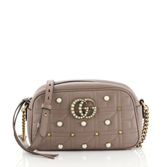 Gucci Pearly GG Marmont Shoulder Bag Embellished Matelasse Leather Small 441041