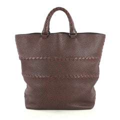 Bottega Veneta Open Tote Cervo Leather with Intrecciato Detail Large Red 441081