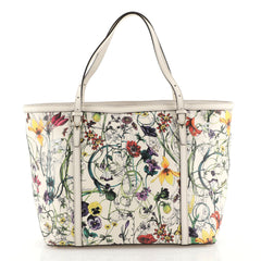 Gucci Nice Tote Floral Printed Leather Medium White 44112101