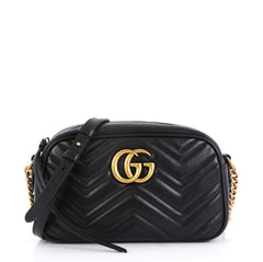 Gucci GG Marmont Shoulder Bag Matelasse Leather Small Black 44112102