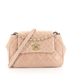 Chanel Mix Accordion CC Flap Bag Quilted Glazed Calfskin Medium Pink 44112106
