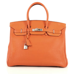 Hermes Birkin Handbag Orange Togo with Palladium Hardware 35 Orange 44112109