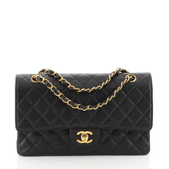 Chanel Vintage Classic Double Flap Bag Quilted Caviar Medium Black 4411210