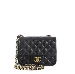 Chanel Square Classic Single Flap Bag Quilted Lambskin Mini Black 4411214