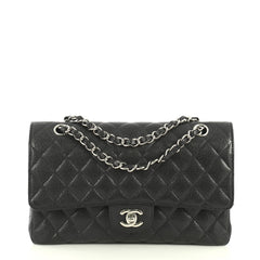 Chanel Vintage Classic Double Flap Bag Quilted Caviar Medium Black 4411217