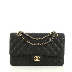 Chanel Classic Double Flap Bag Quilted Caviar Medium Black 4411218