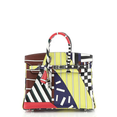 Hermes One Two Three and Away We Go Birkin Bag Limited Edition Printed Swift 25 Blue 441121
