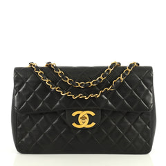 Chanel Vintage Classic Single Flap Bag Quilted Lambskin Maxi Black 4411221