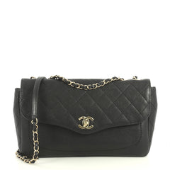 Chanel Coco Curve Flap Messenger Quilted Goatskin Large Black 4411224