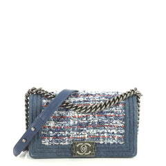 Chanel Boy Flap Bag Braided Tweed and Lambskin with Denim Old Medium Blue 4411227