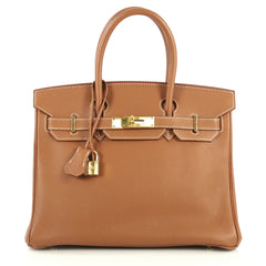Hermes Birkin Handbag Brown Togo with Gold Hardware 30 Brown 441122