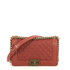 Chanel Boy Flap Bag Quilted Caviar Old Medium Red 4411230