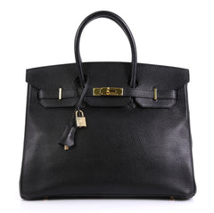 Hermes Birkin Handbag Black Ardennes with Gold Hardware 35 Black 441123