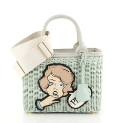 Prada Comic Basket Bag Wicker with Canapa and Applique Small Green 4411249