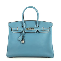 Hermes Birkin Handbag Blue Togo with Palladium Hardware 35 Blue 441124