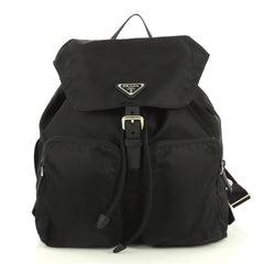 Prada Double Front Pocket Backpack Tessuto Medium Black 4411250