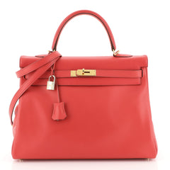 Hermes Kelly Handbag Red Gulliver with Gold Hardware 35 Red 441125