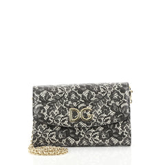 Dolce & Gabbana Wallet on Chain Printed Leather Black 4411261