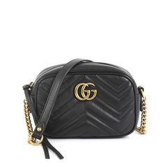 Gucci GG Marmont Shoulder Bag Matelasse Leather Mini Black 4411274