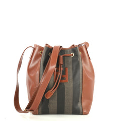 Fendi Vintage Pequin Bucket Bag Coated Canvas and Leather Small Brown 4411279
