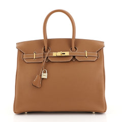 Hermes Birkin Handbag Brown Togo with Gold Hardware 35 Brown 441127