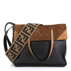 Fendi Flip Grace Convertible Tote Leather with Suede Regular Black 4411280