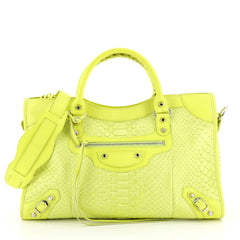 Balenciaga City Classic Studs Bag Python Medium Green 4411285