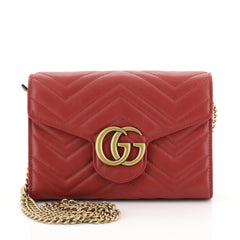 Gucci GG Marmont Chain Wallet Matelasse Leather Mini Red 4411294