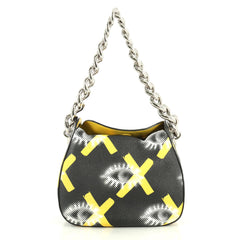 Prada Chain Shoulder Bag Printed Vitello Daino Small Black 4411296