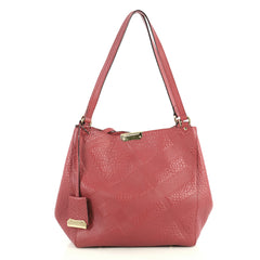 Burberry Canterbury Tote Check Embossed Leather Small Pink 4411298