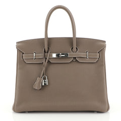 Hermes Birkin Handbag Grey Togo with Palladium Hardware 35 Neutral 441129