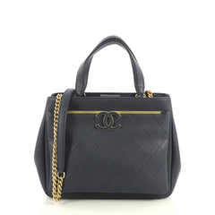Chanel Lady Coco Shopping Tote Quilted Caviar Small Blue 441178