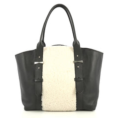 Alexander McQueen Legend Tote Shearling with Leather Medium White 441181