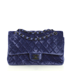 Chanel Classic Double Flap Bag Quilted Velvet Medium Blue 441202