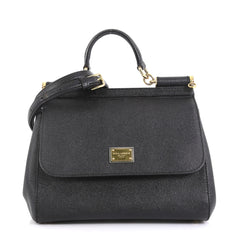 Dolce & Gabbana Miss Sicily Bag Leather Medium Black 441211