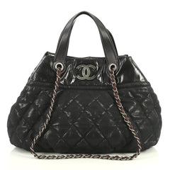 Chanel In The Mix Tote Quilted Iridescent Calfskin Large Black 441272