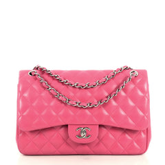 Chanel Classic Double Flap Bag Quilted Lambskin Jumbo Pink 441281