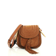 Chloe Hudson Handbag Whipstitch Suede Mini Brown 441331
